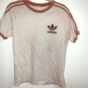 Faded white adidas striped tee medium